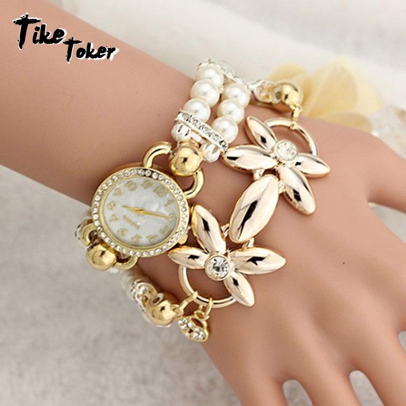Tike Toker,Women's watch Ladies pearl flower bracelt Gift Fashion Brand New Pearl Quartz Bracelet Watch Popular 2018 new style 8