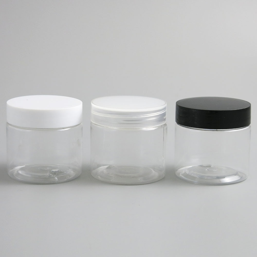30pcs Empty Clear Plastic Round Cream Lotion Jar bottle with black white Lids screw cap 60g 60ml 2oz Cosmetic Sample Containers