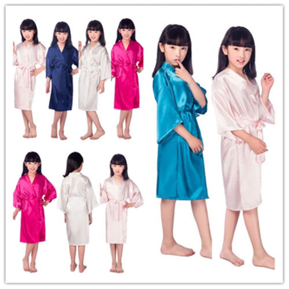 Vestido de boda de satén de seda para novia con flores, albornoz liso para niñas, Kimono corto, bata de noche, albornoz de moda para niñas