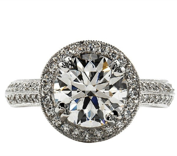 2 قيراط الذهب الأبيض 14K حفرة نمط الغموض حقيقية المويسانتي خاتم الخطوبة للمرأة الملكي تصميم رائع خاتم الزواج