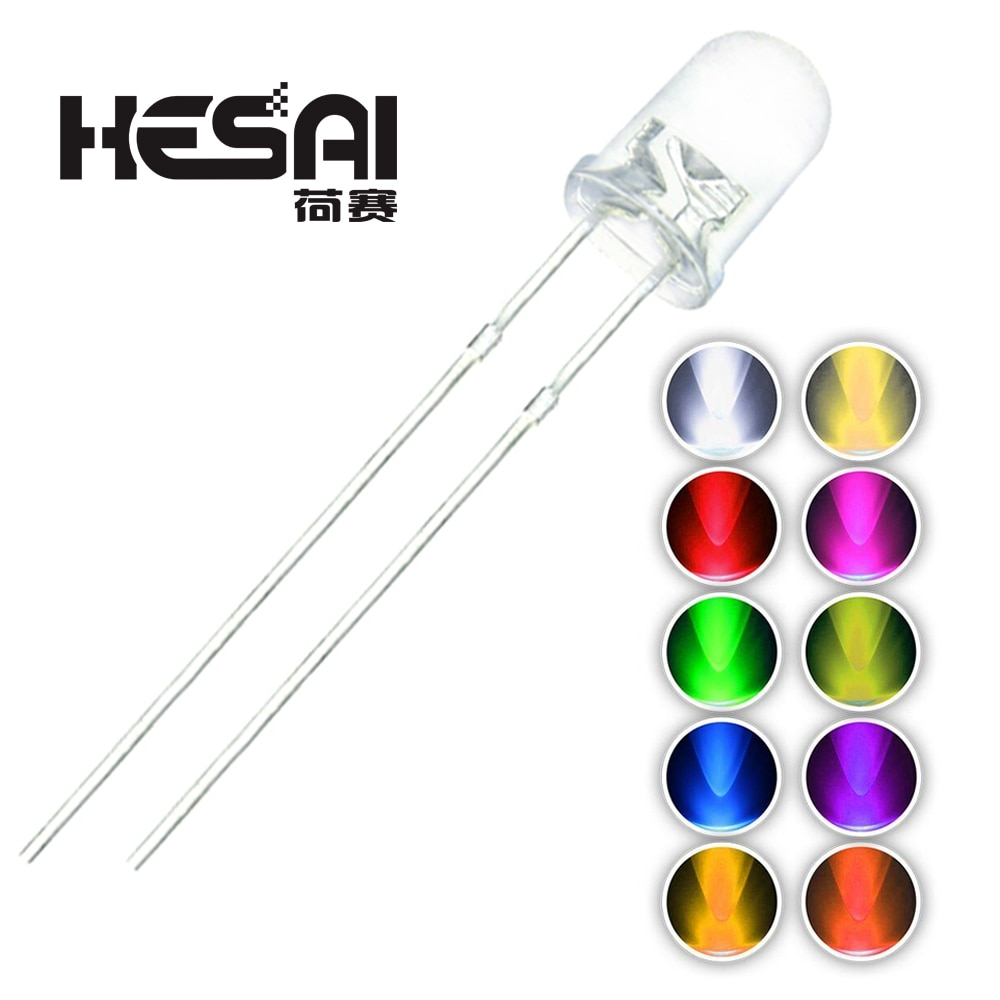 100 unids/lote F3 10 colores 3MM redondo verde/amarillo/azul/blanco/Rojo/blanco cálido/naranja/púrpura/Rosa/amarillo verde diodo de luz LED