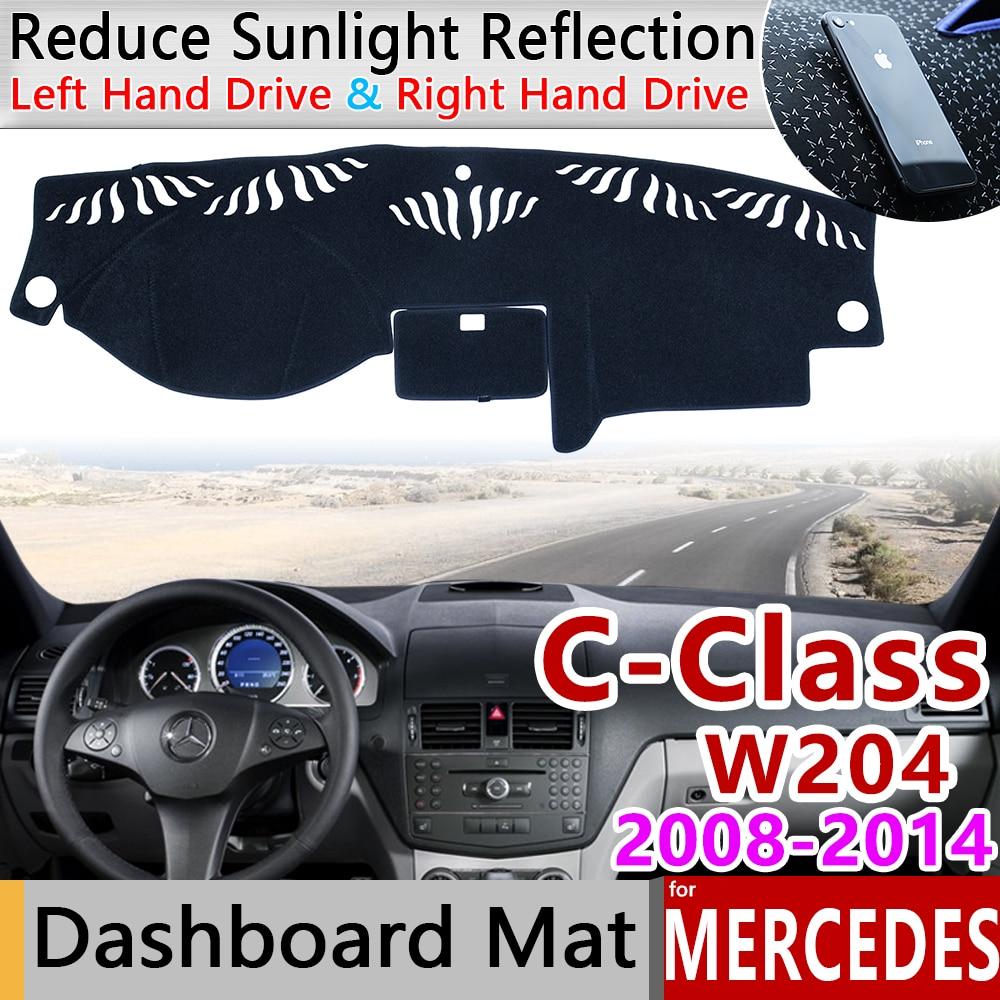 Para Mercedes Benz c-class W204 alfombrilla antideslizante almohadilla para salpicadero sombrilla alfombra dashmat accesorios C-Klasse C180 C200 C220 C250 C300