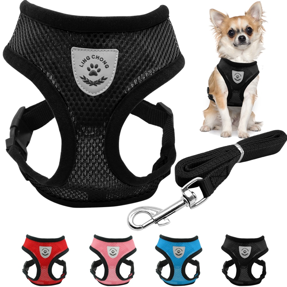 Комплект из дышащей сетки для маленьких собак, поводок и поводок для питомцев, жилет для щенков и кошек, ошейник для чихуахуа, мопса, Bulldog, кошки arne perro