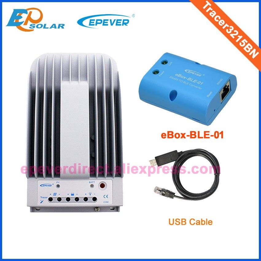 30A 12 V/24 V funcionamiento automático panel solar MPPT controlador de carga con función BLE eBOX-BLE-01 y USB Tracer3215BN