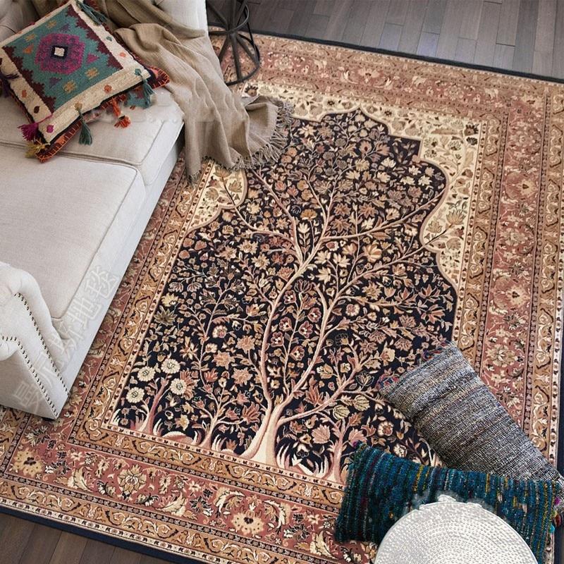 Mesita para café de sala de estar, alfombra persa de gran tamaño, Alfombra de estilo americano más delgada de 3mm, alfombra decoración casa mantenimiento fácil