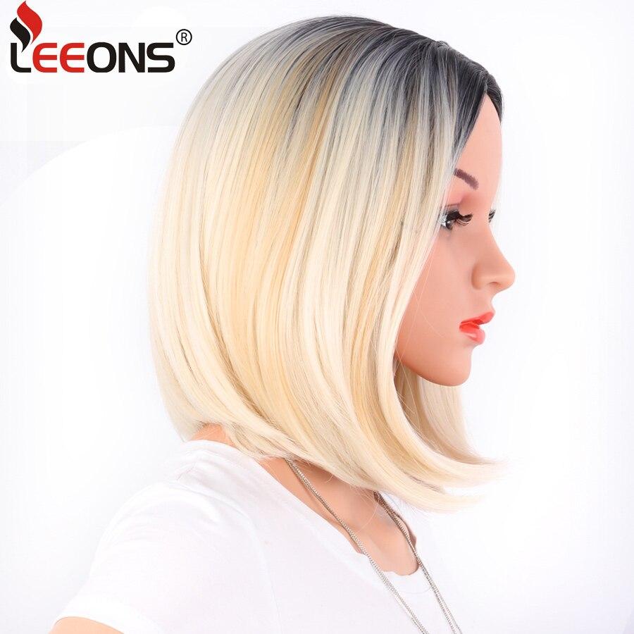 Leeons africano-americano bob perucas curtas em linha reta para as mulheres peruca comprimento do ombro resistente ao calor sintético preto marrom cabelo