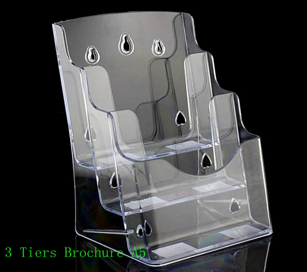 Clear A5 3 Tiers Plastic Brochure Literature Pamphlet Display Holder Racks Stand To Insert Leaflet on Desktop 30pcs