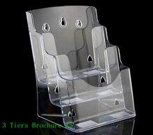 Прозрачный А5 3 яруса пластиковая брошюра держатель дисплея стойки для вставки листовки на рабочий стол 30 шт