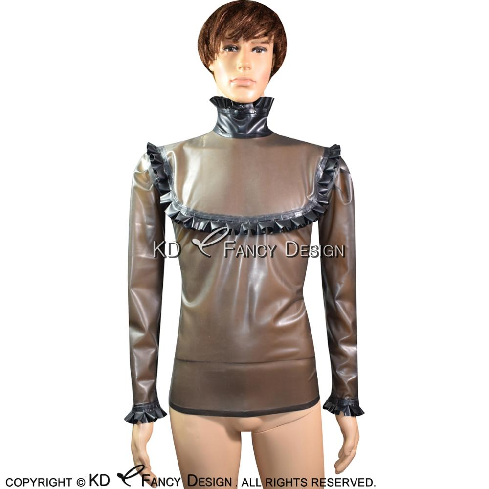 Transparent Black And Black Frills Sexy Latex Blouse With Back Zip Rubber Shirt Top Clothes YF-0082