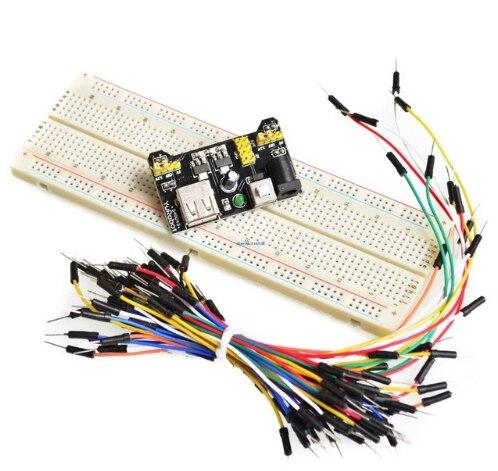 3.3V/5V MB102 zasilanie płytki prototypowej moduł MB-102 830 punktów Solderless Prototype zestaw do tworzenia płytek prototypowych 65 elastyczne przewody połączeniowe