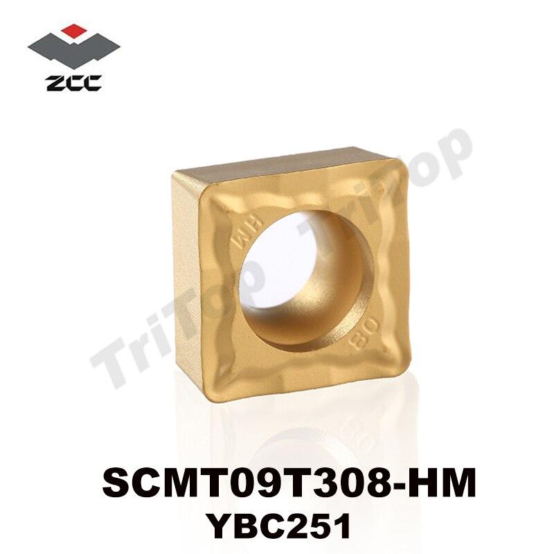 Zcc. Ct fabricação SCMT 09T308-HM YBC251 CVD transformando pastilhas de torneamento para SCMT09T308 aço inoxidável maching