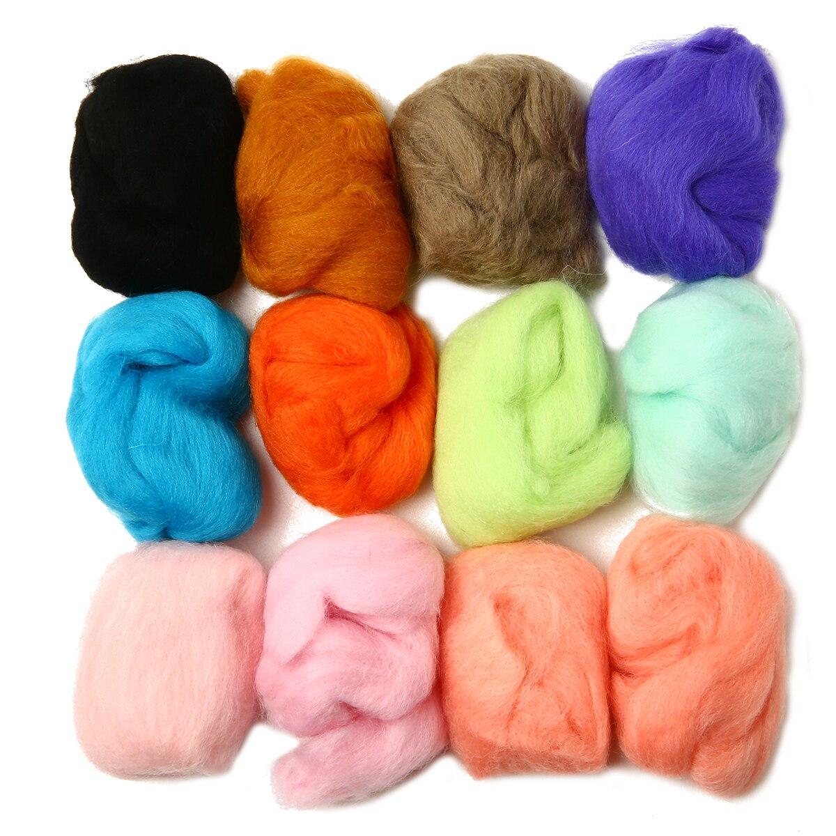 12 шт./лот 12 видов цветов 5 г мягкое шерстяное волокно ровинг для вязания игл сделай сам ручная прядильная швейная кукла рукоделие волокно искусство