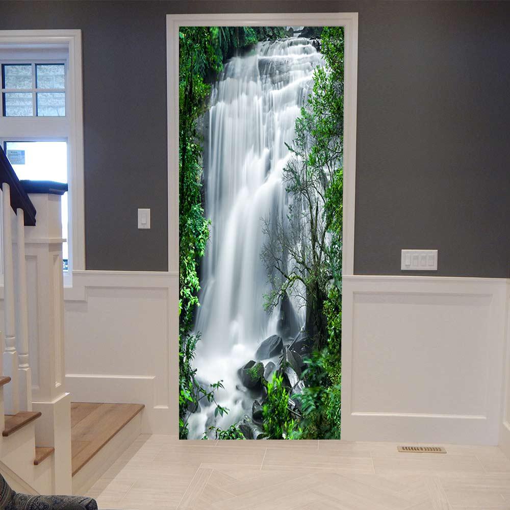 3d porta adesivo cachoeira pvc porta adesivo para sala de estar quarto diy pvc auto adesivo papel parede mural casa decalques à prova dwaterproof água