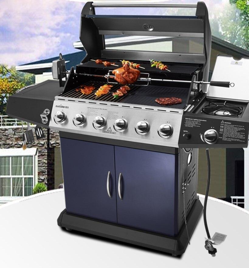 Csa, ce de alta qualidade ao ar livre churrasqueira a gás, seis queimadores + queimador sider ga churrasqueira com espeto + motor capa