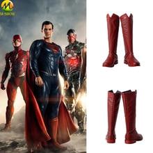 Film Justice League Superman Cosplay Costumes bottes Clark Kent chaussures cuir rouge bottes personnalisées