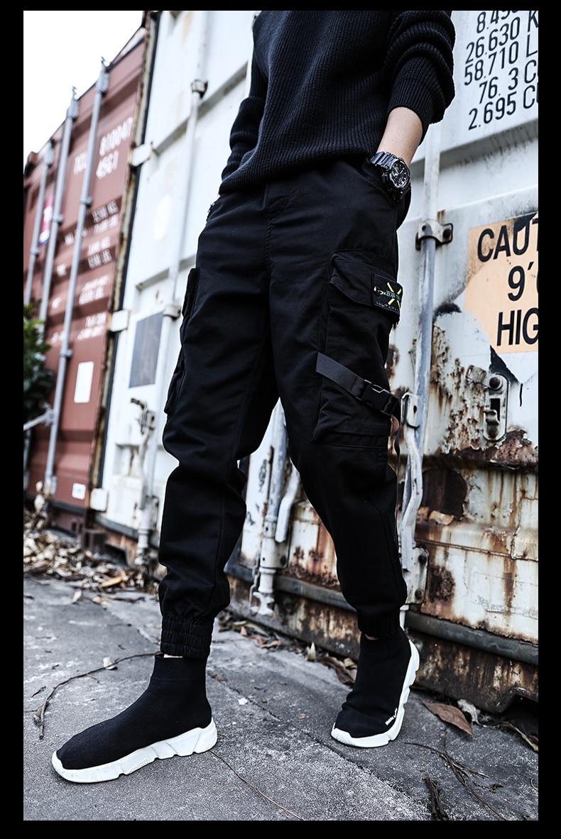 Брюки мужские хлопковые повседневные, уличная одежда, Джоггеры в стиле хип-хоп, штаны с несколькими карманами, черные