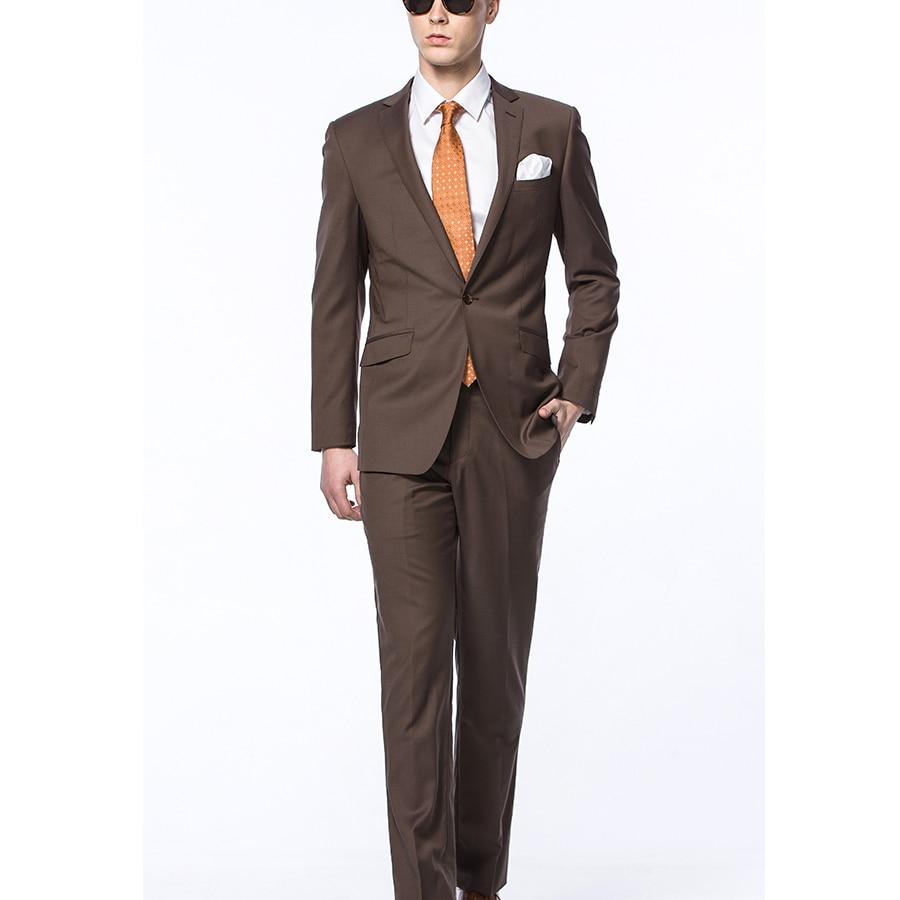 Traje de negocios para hombre 2 piezas (chaqueta + Pantalones) trajes de boda novio esmoquin vestidos de graduación Terno Slim Fit traje Homme hombres trajes