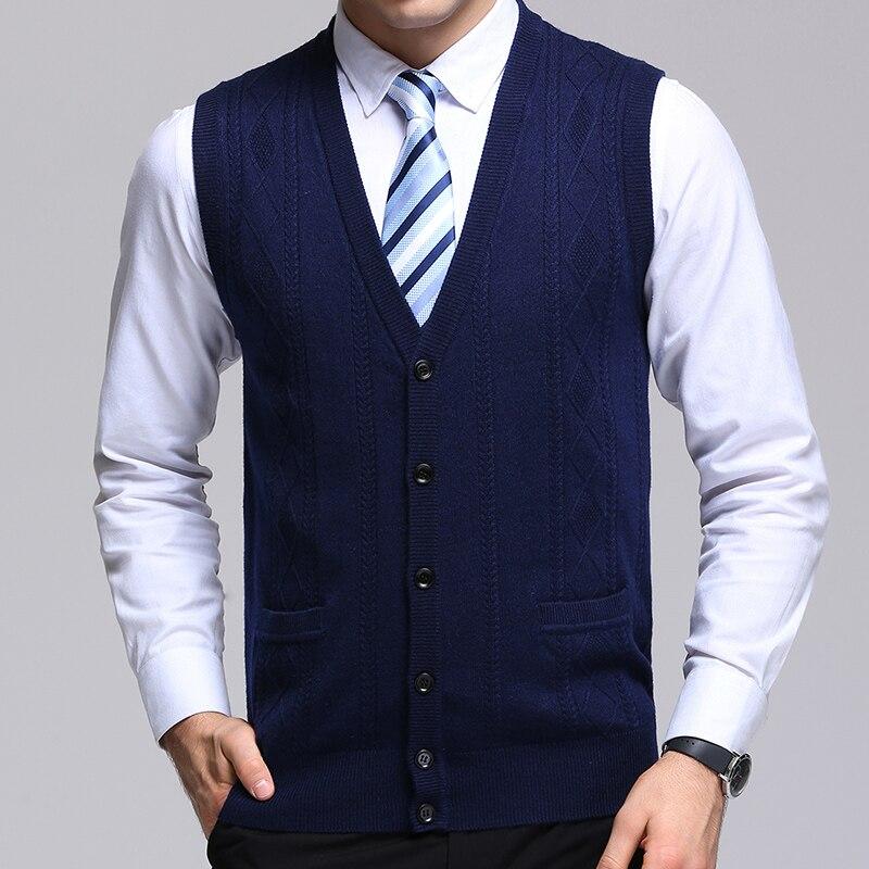 Новинка 2021, модный брендовый свитер, мужской кардиган, жаккардовый облегающий вязаный Джемперы, жилет, осенняя повседневная мужская одежда ...