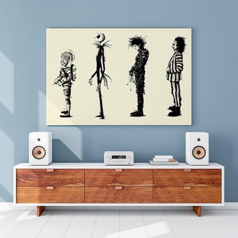 Hause Decr Malerei Tim Burton Film Beetlejuice Edward Scissorhands HD Movie Poster Drucken Poster Wand Kunst Bilder