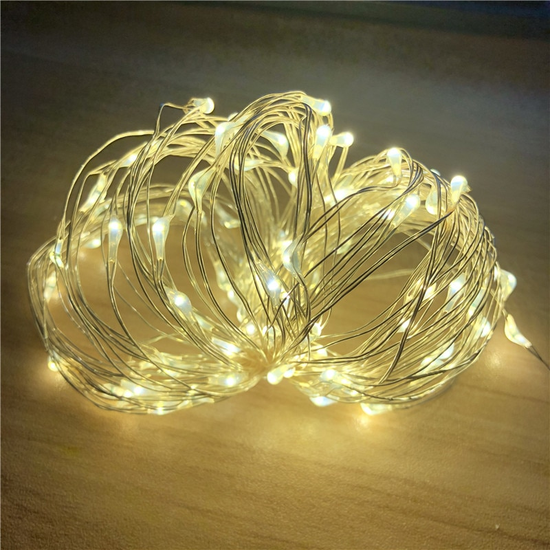 1m 2m 5m 10m fairy lights copper wire led string lights for christmas garland wedding party indoor room decoration battery usb 2M 5M 10M 100 Led Strings Copper Wire 3XAA Battery Operated Christmas Wedding Party Decoration LED String Fairy Lights