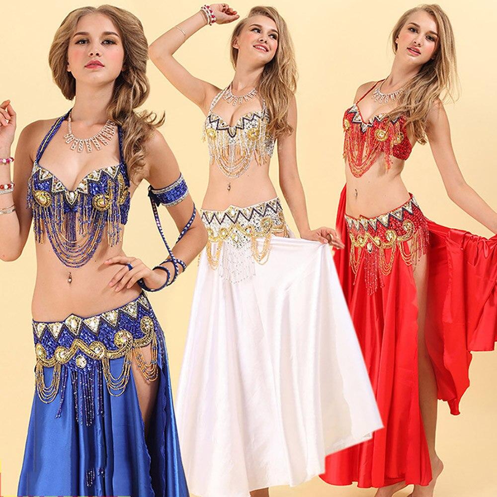 Kostium taneczny brzucha dla pań czerwone złoto 2 szt. (biustonosz + pas) garnitur kobiet profesjonalna sala balowa kobiece konkurencyjne ubrania DN2030