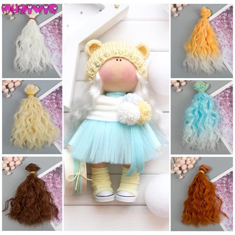 DIY muñeca pelucas de pelo de alta temperatura fibra sintética 1 piezas 15cm extensiones de cabello para Kurhn/BJD SD/SD /Blyth/muñecas americanas
