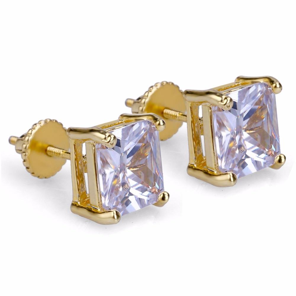Pendiente con garra de Hip Hop con circonita cúbica y adornos de hielo, pendientes cuadrados de cobre de Color dorado para hombres, joyería de roca