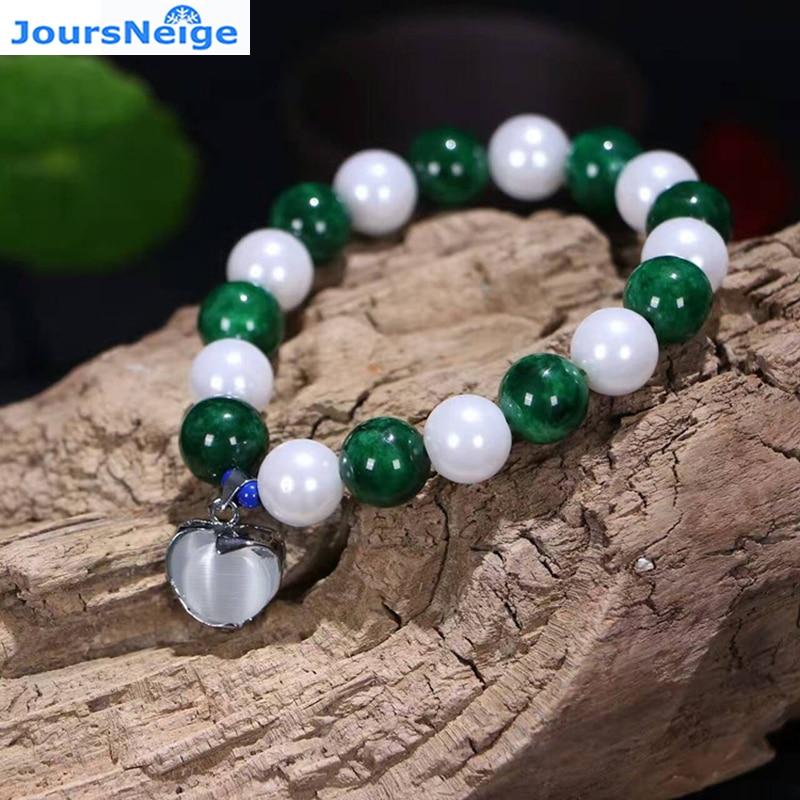 Pulseras de piedra natural verde seca con ojo de gato blanco colgante corazón de piedra cuerda de mano para mujeres y niñas joyería de una sola vuelta de la suerte