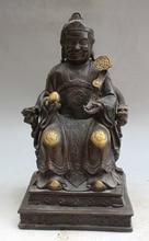 "song voge gem S1777 12"" Old Chinese Bronze Seat Dragon Chair Longevity Land Grandma Goddess Statue"