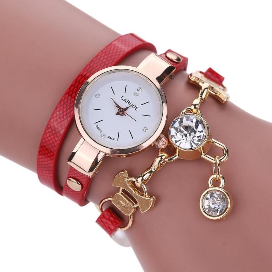 Timezone #301 Fashion Women'sWatch Faux Leather Rhinestone Analog Quartz Dress Wrist Watches