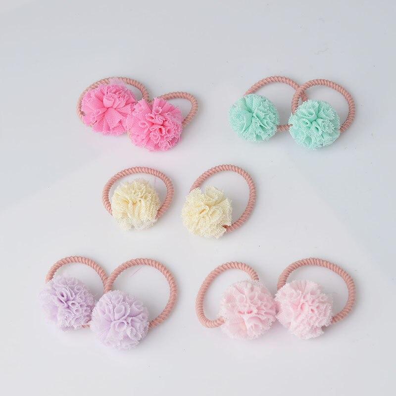 2 piezas lindas pequeñas niñas pompón lazos para el cabello bola banda elástica para el pelo de los niños cuerdas accesorios para el cabello AS0179