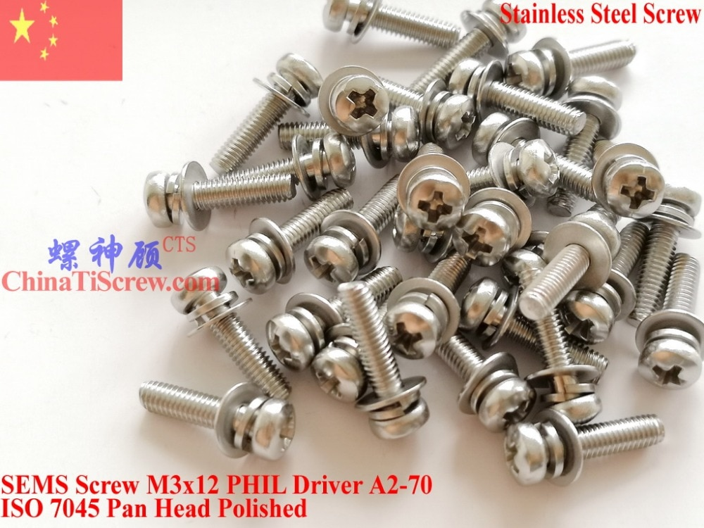 Tornillos SEMS de acero inoxidable M3x12 cabeza de sartén 1 # controlador de Philips pulido ROHS 100 piezas