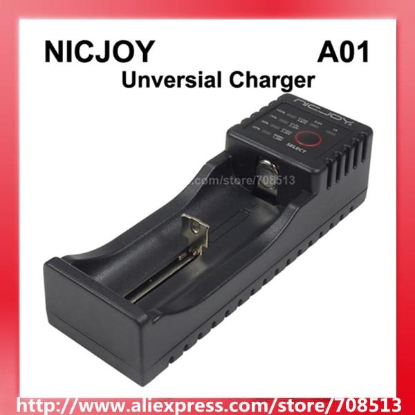 A01 Smart Universial Charger with 1-Slot for Li-ion/LiFePO/Ni-MH/Ni-CD Batteries - Black