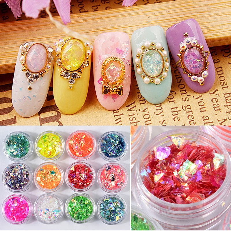 12pcs holographic colorful Glitter paillette Irregular shape Cellophane spangles for Nail Art and DI