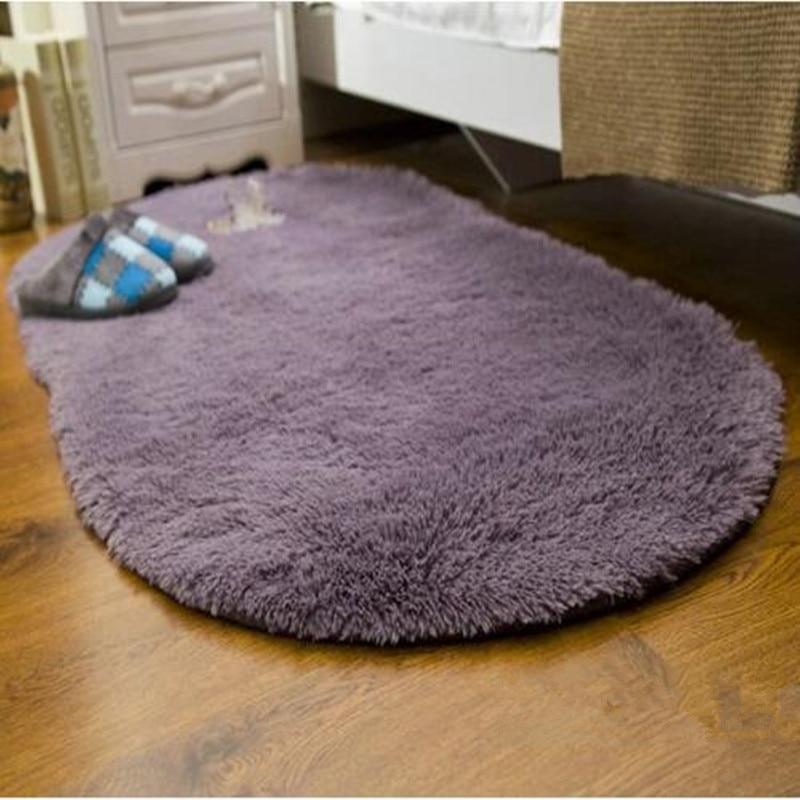 De gran tamaño suave Oval tapete Alfombras de piel sintética resistente al deslizamiento Alfombras de piso para salón habitación dormitorio casa suministros