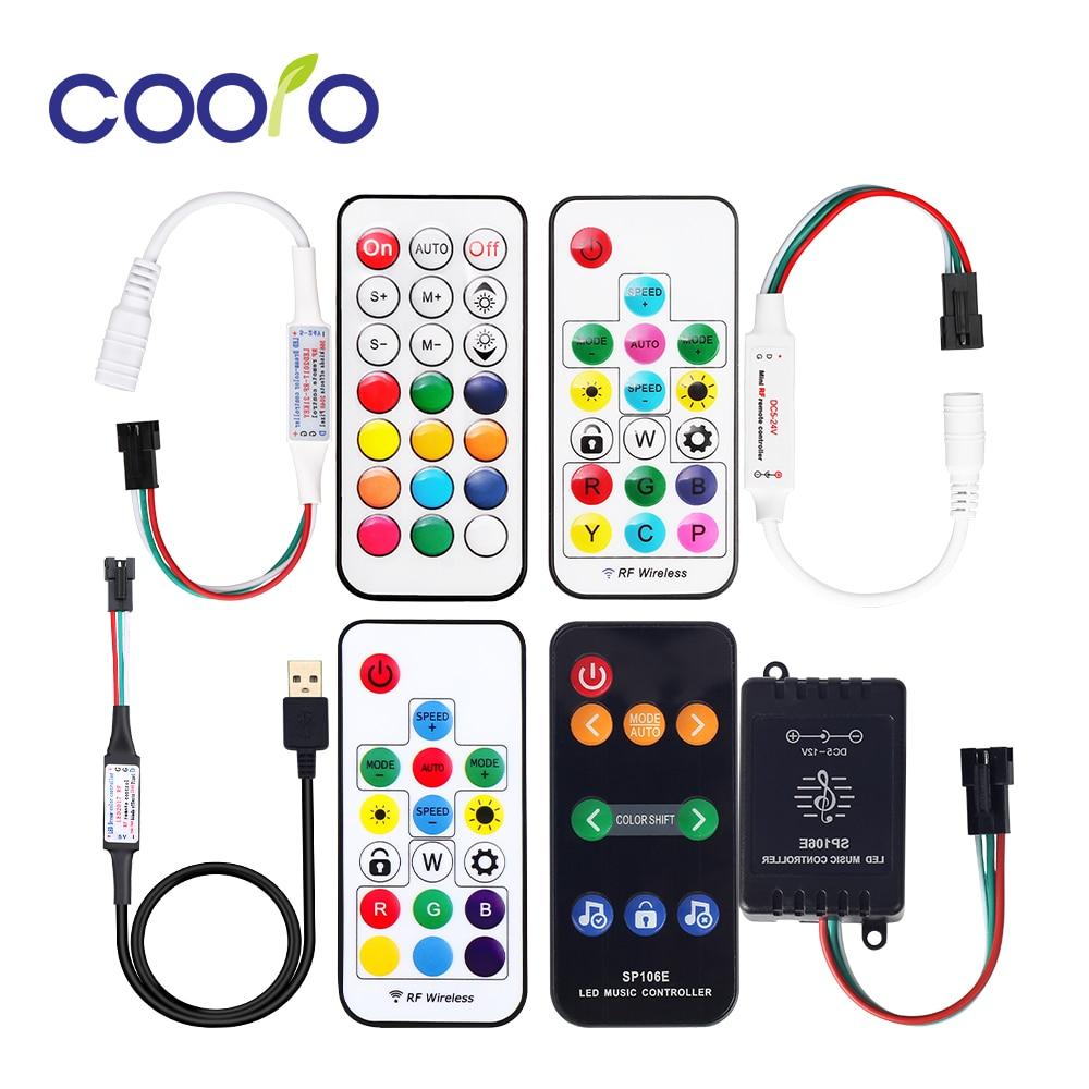 Mini 3 key RF 17 key 21 key LED Pixel Strip Light Controller SP110E Bluetooth SP106E SP107E Music Controller for WS2811 WS2812B