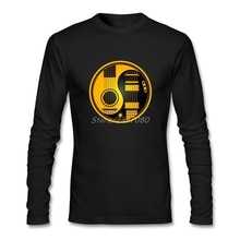 Long Sleeve Fathers Day Custom Yellow and Black Acoustic Electric Guitars Yin Yang Tee Shirts