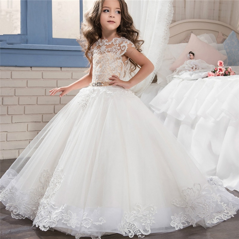 long sleeve flower girl dresses for weddings ball gown tulle lace beaded baby long first communion dresses for little girls Lovely Long Sleeve Flower Girl Dresses for Weddings 2019 Sheer Neck Lace Ball Gown Little Girls First Communion Pageant Gowns