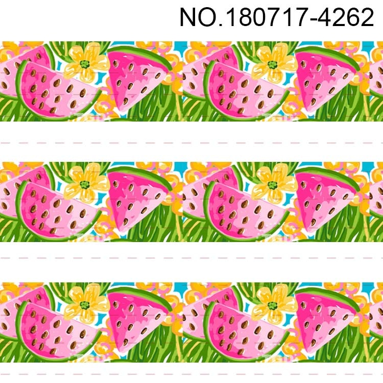 "4262-4273 3 ""75mm dibujo de fruta dulce dibujo de fruta grogrén cinta sandía naranja fresa plátano"