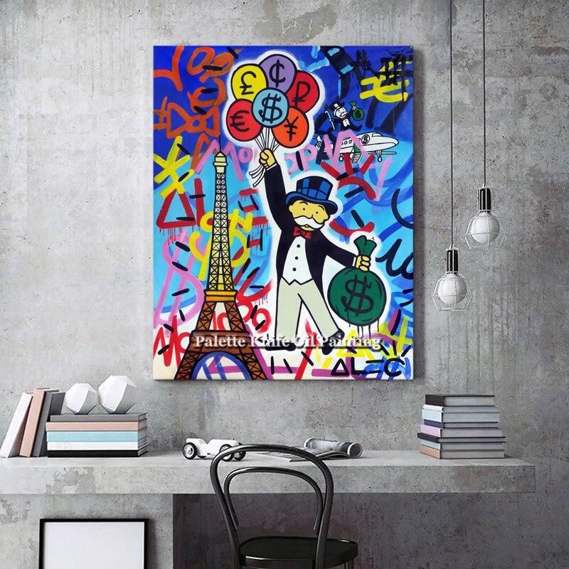 Pintura al óleo de arte pop street art, arte urbano, dinero, arte en lienzo, sala de estar imagen para, decoración de pared para el hogar 29