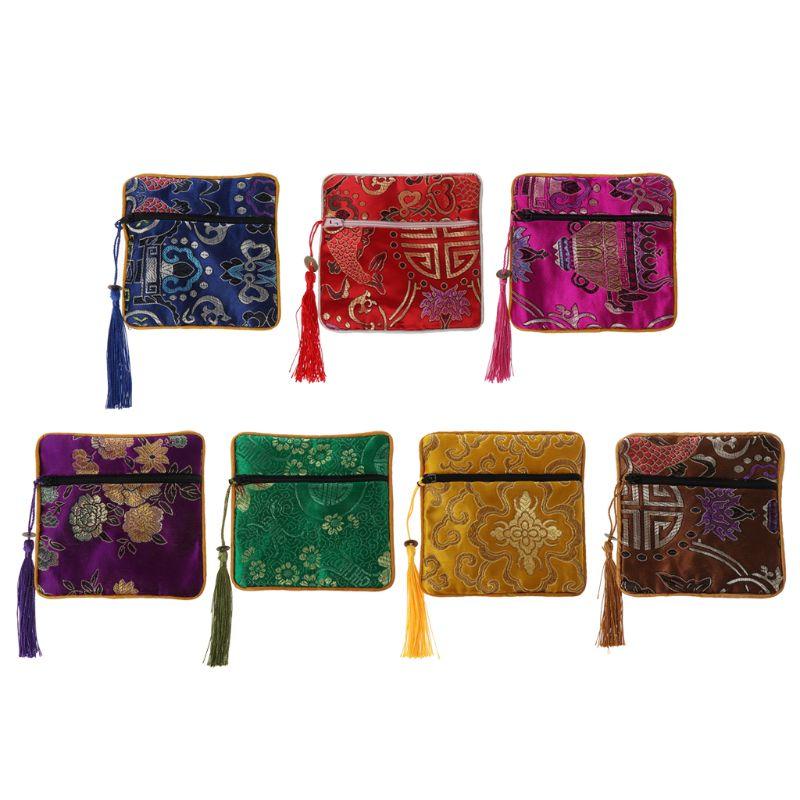 Mini bolso de bordado y joyería China clásico, organizador de bolsos de seda con borla tradicional, bolsa portátil de 7 colores