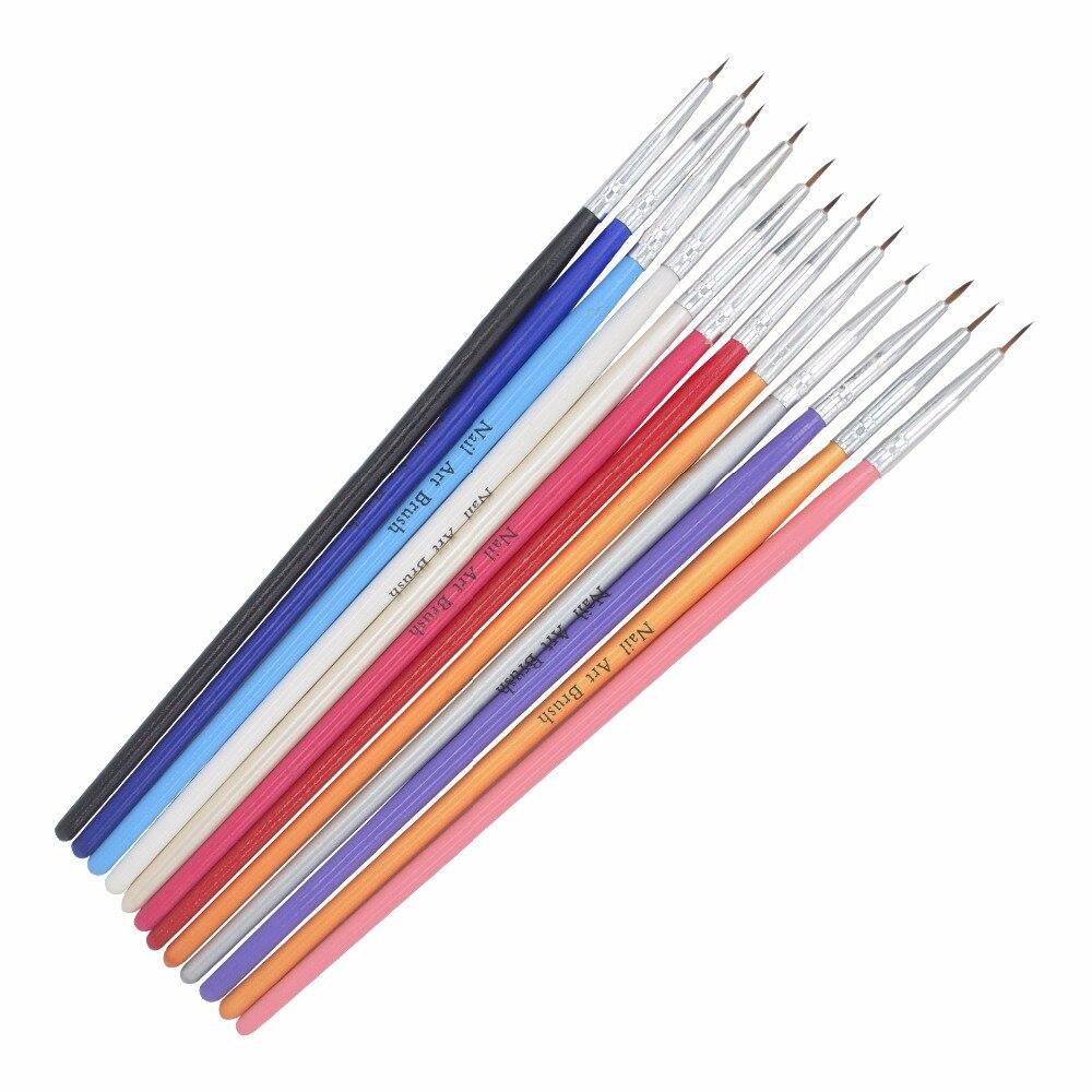 Цветная кисть для дизайна ногтей WUF, 12 шт./упак., маленькая акриловая ручка для нейл-арта, ручка для рисования, кисточка для ногтей, инструменты 36