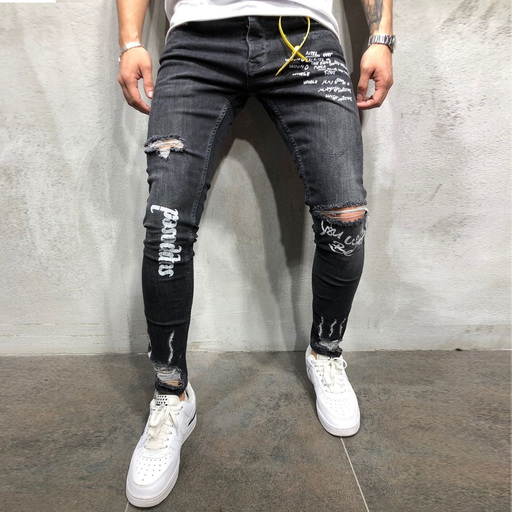 Pantalones Vaqueros nuevos negros elásticos con estampado de agujeros Para los pies, pantalón con letras, Pantalones Vaqueros modernos, Pantalones Vaqueros Para Hombre