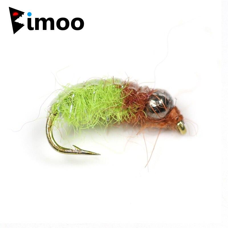Bimoo 6 pièces #12 Psycho Rycho nymphe tchèque pêche à la truite mouches pêche à la mouche nymphes perles de tungstène