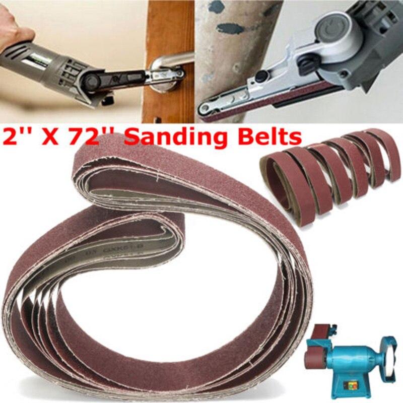 Correas de lijado 6x2x72, banda abrasiva para pulido de arena de 120/150 cm, 36/40/60/80/182