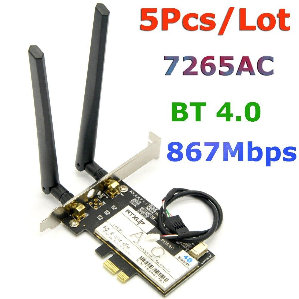 5 unids/lote 7265ac 867 Mbps 802.11ac de escritorio inalámbrico PCI-E adaptador WiFi PCI Express tarjeta WLAN para Intel AC7265 + WiFi antena BT 4,0