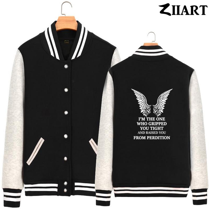 Angel wing Supernatural CASTIEL gripped raised you perdition Man Boys Full Zip Autumn Winter Fleece Baseball jackets ZIIART
