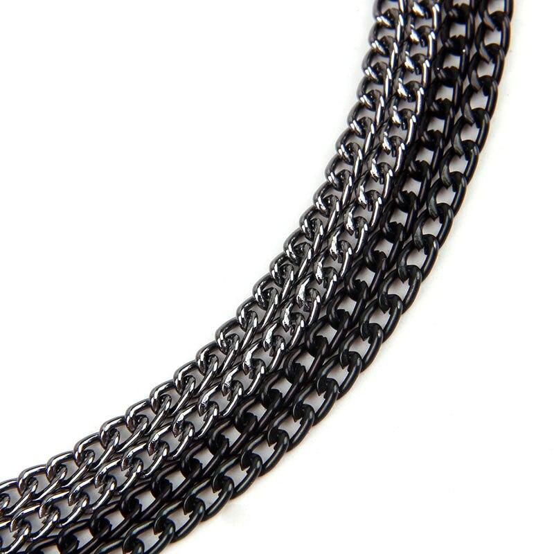 Pistola negro recto cable con textura de aluminio cadena cadenilla trenzado cadenas a granel pulseras para la fabricación de la joyería DIY 1.0x3.5x5.3mm
