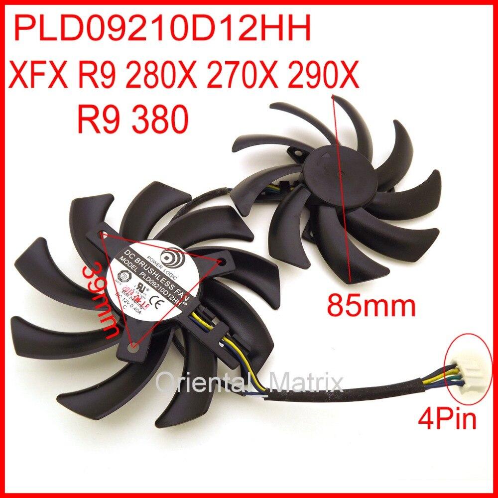 Вентилятор охлаждения для видеокарты PLD09210D12HH, 2 шт./лот, 12 в пост. Тока, 0.40A, 85 мм, для XFX, R9, 380, 280X, 270X, 290X, 4 pin, бесплатная доставка