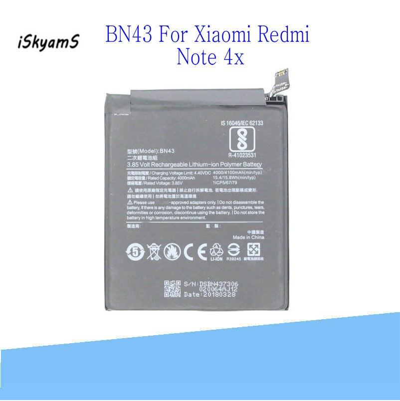ISkyams 1x4100 mAh/15.8Wh BN43/BN 43 reemplazo de batería de teléfono móvil Bateria pila para Xiaomi Redmi Note 4X 4 X